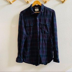 KOTO large plaid shirt L button front navy